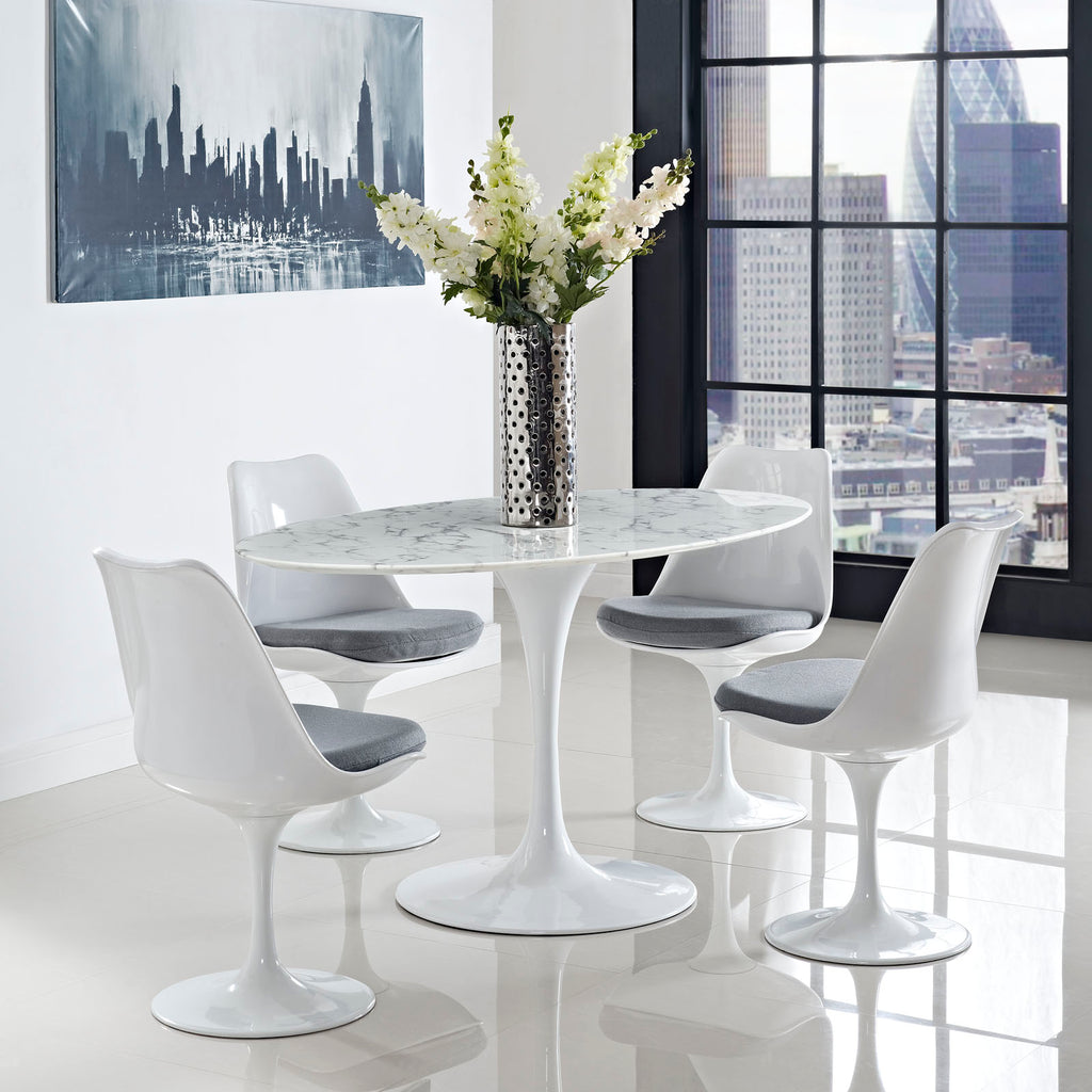 "Lippa 60"" Oval Artificial Marble Dining Table in White"
