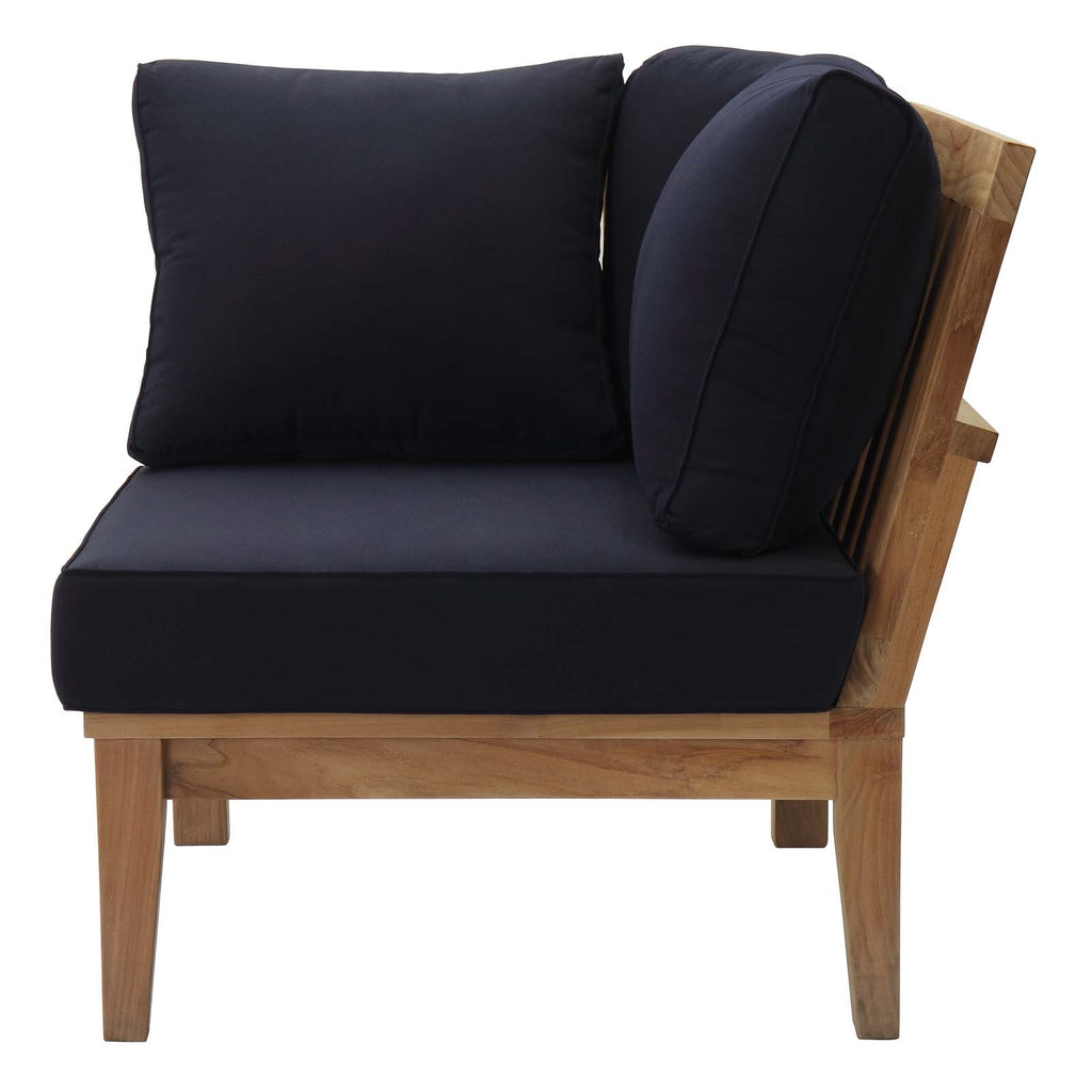 Marina Outdoor Patio Teak Corner Sofa in Natural Navy