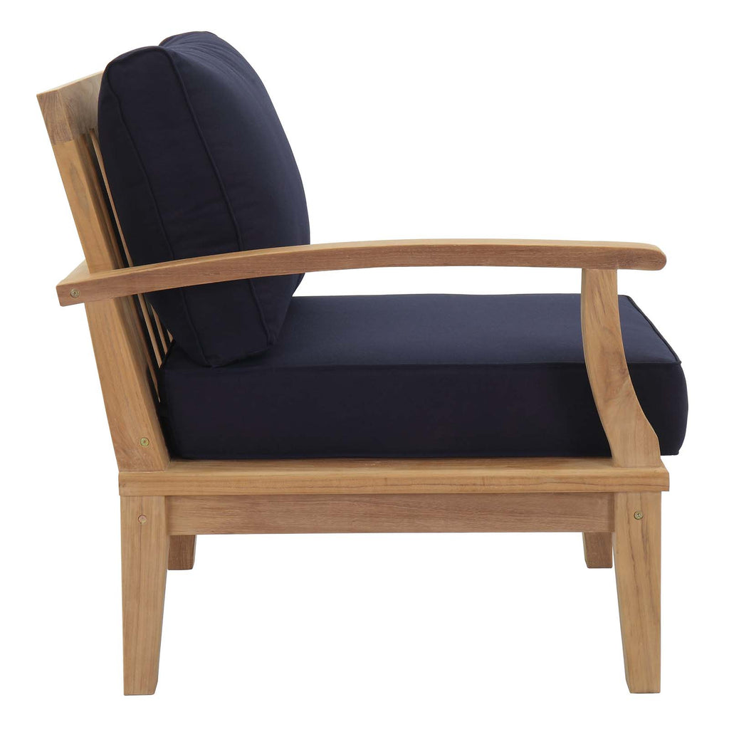 Marina Outdoor Patio Teak Left-Facing Sofa in Natural Navy