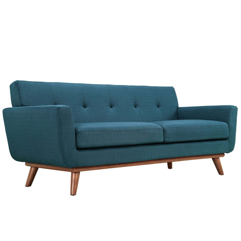 Engage Upholstered Fabric Loveseat in Azure