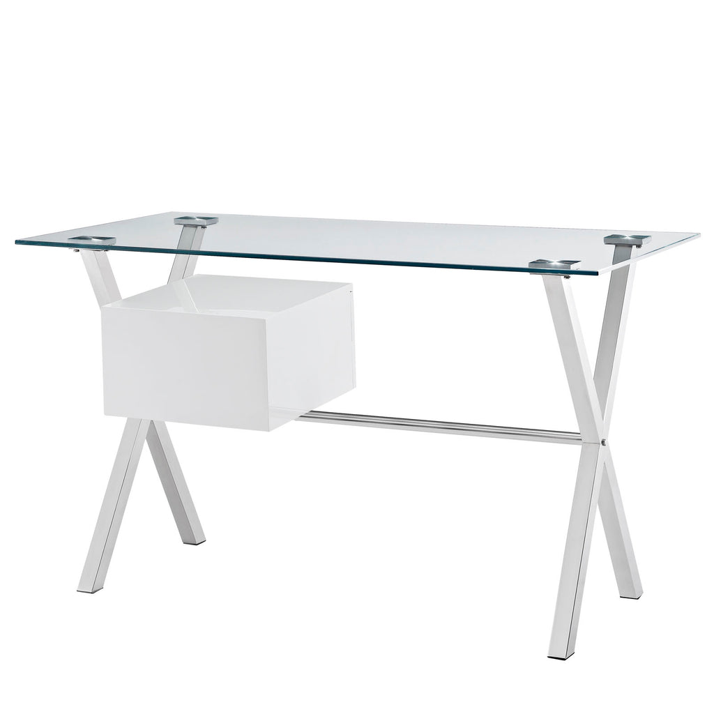 Stasis Glass Top Office Desk in White