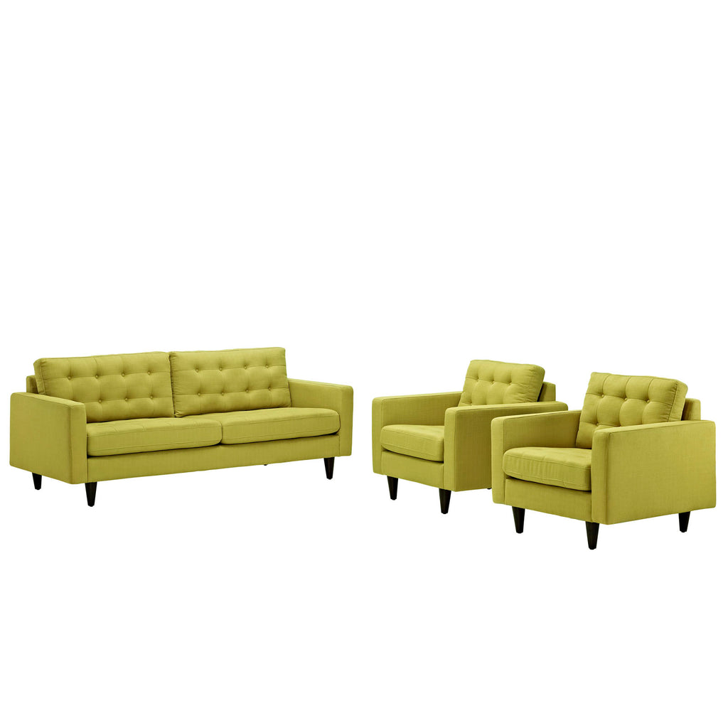 Empress Sofa and Armchairs Set of 3 in Wheatgrass