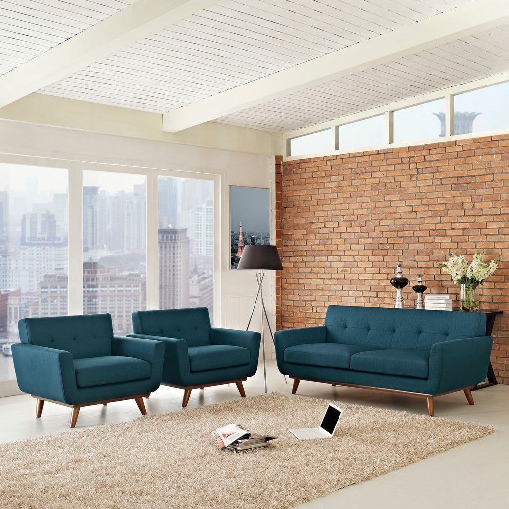 Engage Armchairs and Loveseat Set of 3 in Azure