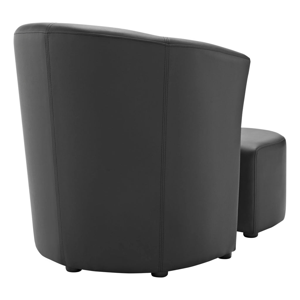 Divulge Armchair and Ottoman in Black