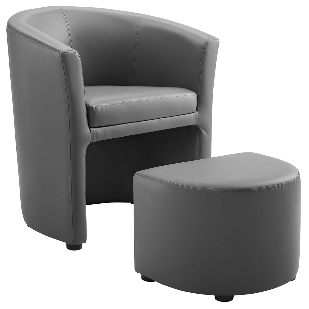 Divulge Armchair and Ottoman in Gray