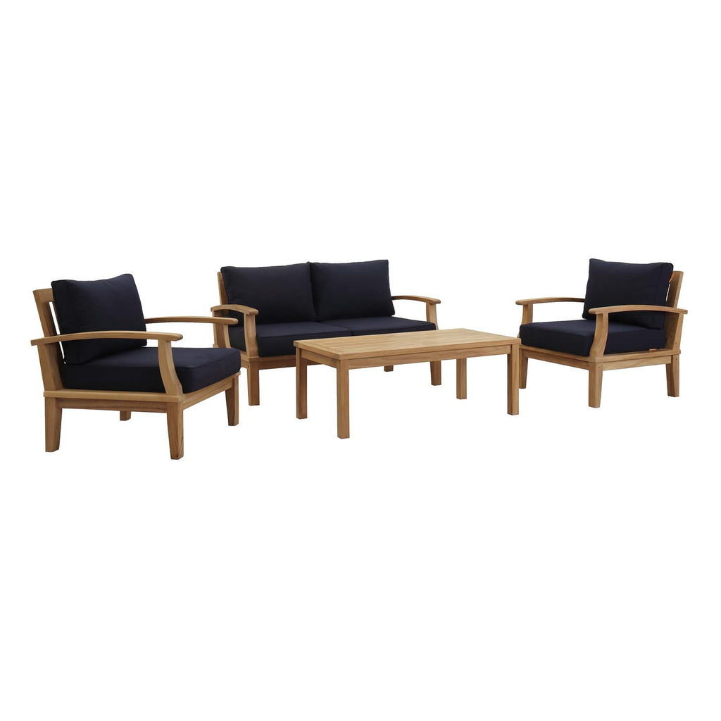 Marina 4 Piece Outdoor Patio Teak Set in Natural Navy
