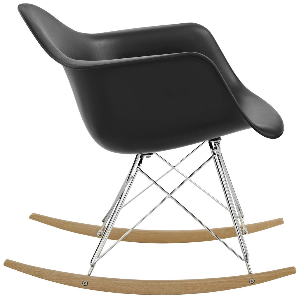 Rocker Plastic Lounge Chair in Black