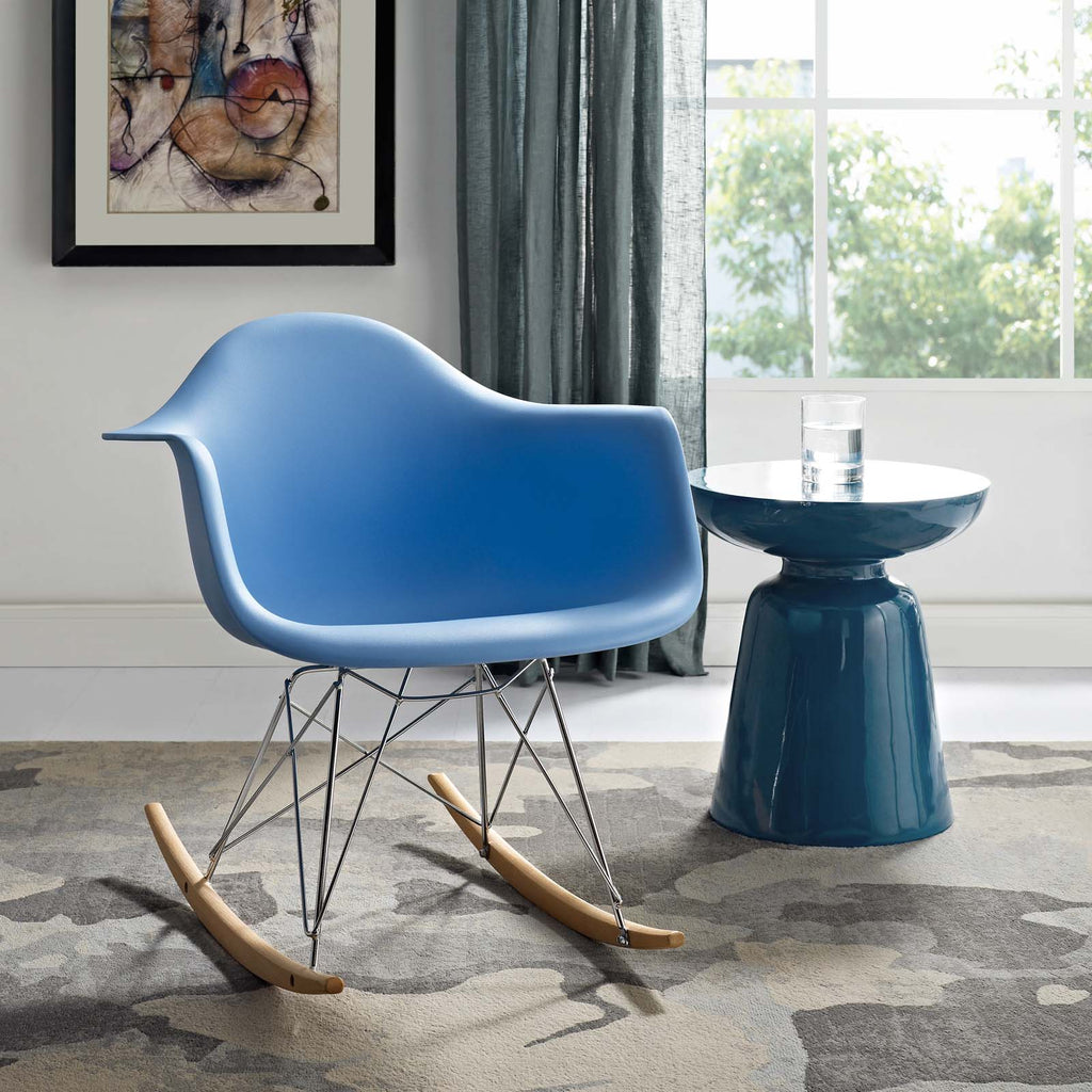 Rocker Plastic Lounge Chair in Blue