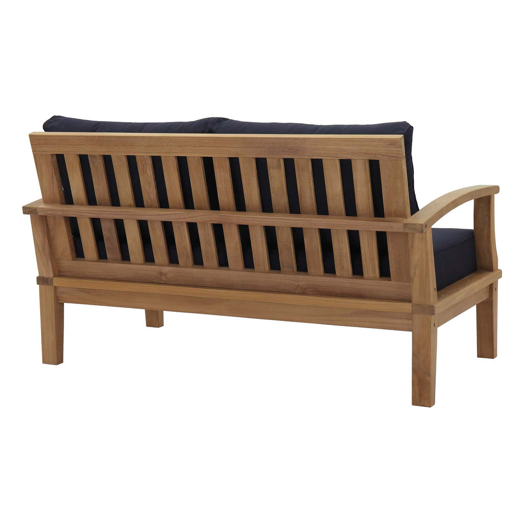 Marina 5 Piece Outdoor Patio Teak Set in Natural Navy