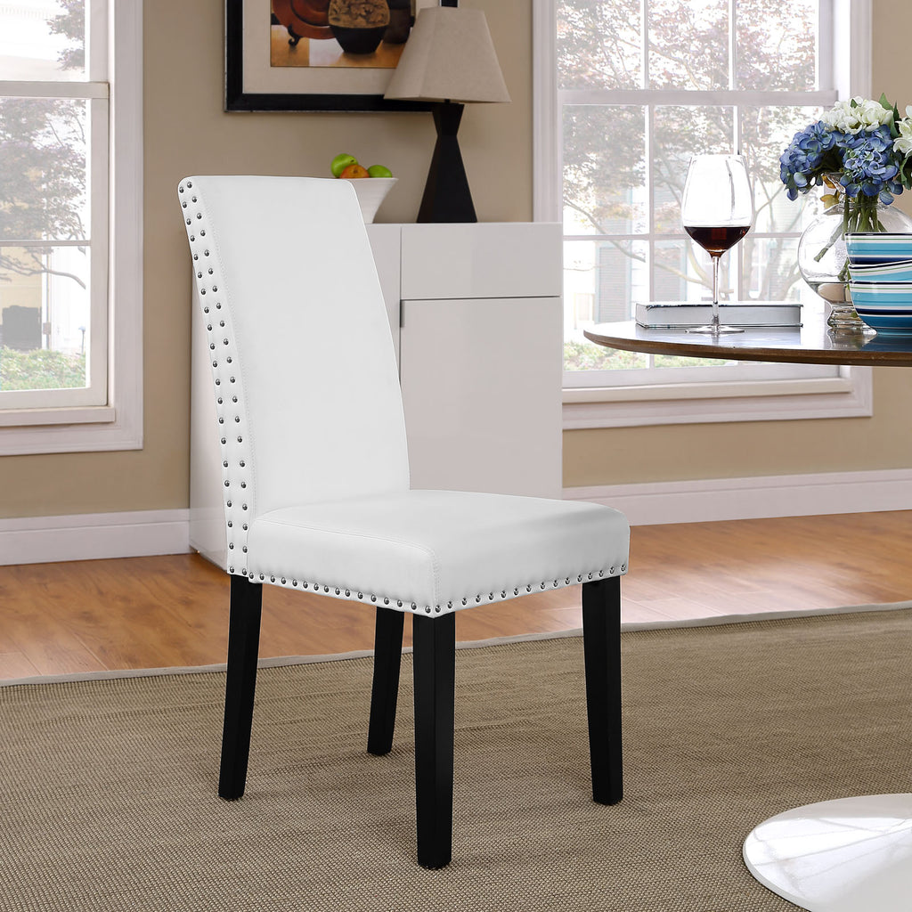 Parcel Dining Faux Leather Side Chair in White