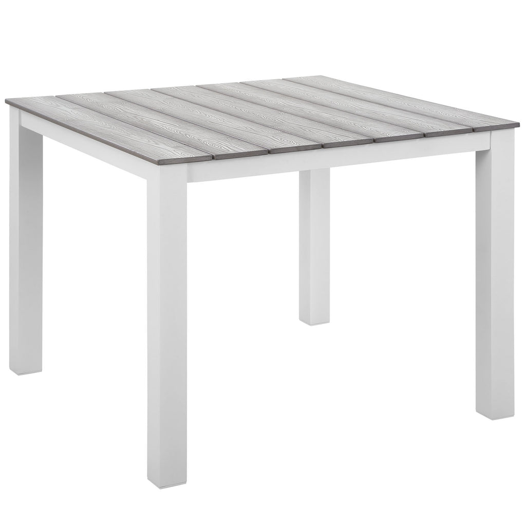 "Maine 40"" Outdoor Patio Dining Table in White Light Gray"