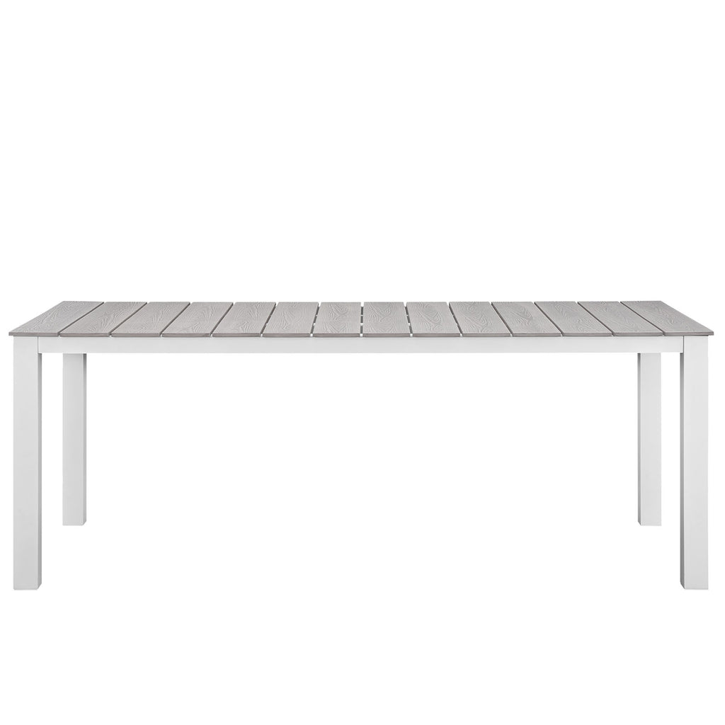 "Maine 80"" Outdoor Patio Dining Table in White Light Gray"