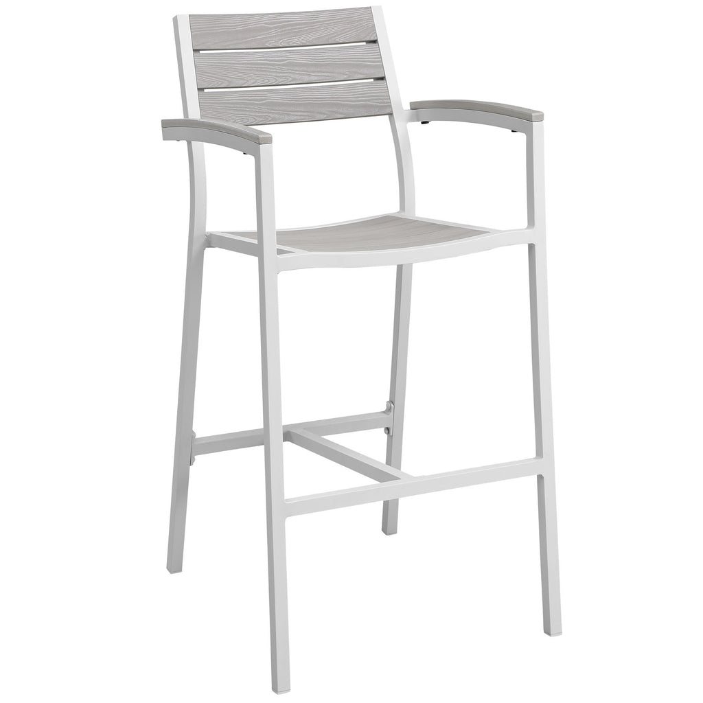 Maine Outdoor Patio Bar Stool in White Light Gray