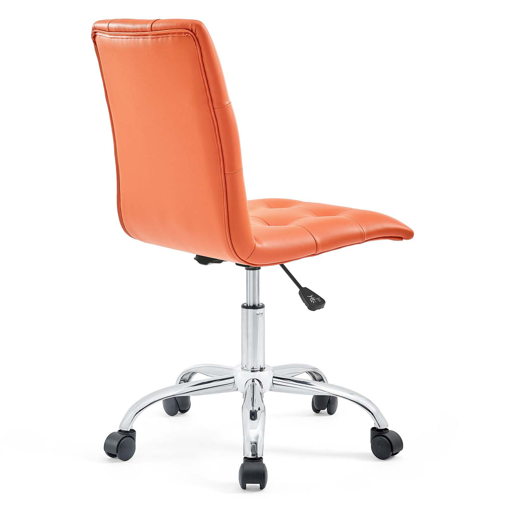Prim Armless Mid Back Office Chair in Orange