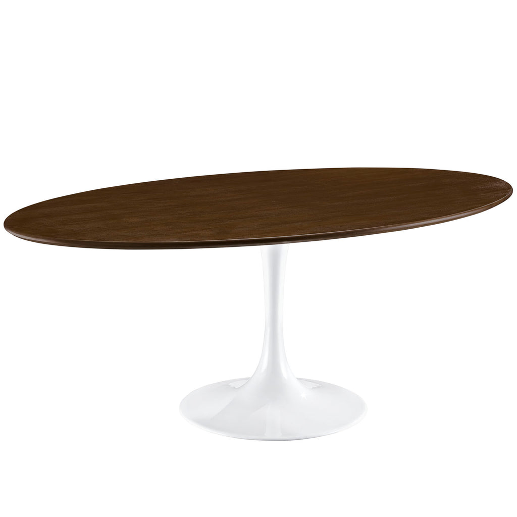"Lippa 78"" Oval Wood Dining Table in Walnut"