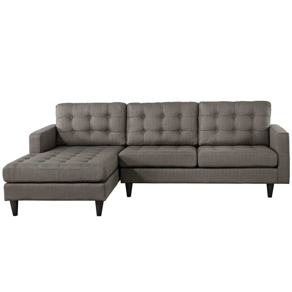 Empress Left-Facing Upholstered Fabric Sectional Sofa in Granite