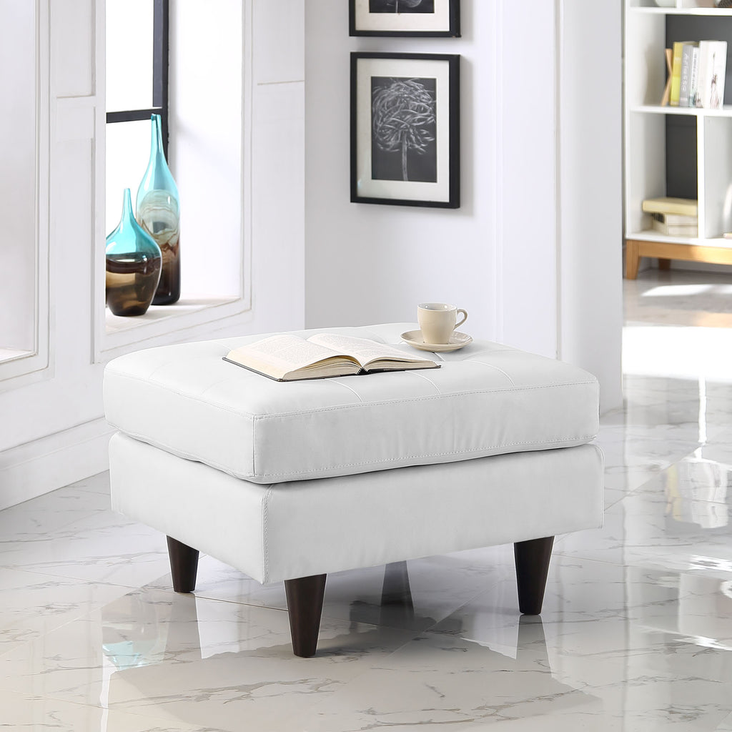 Empress Bonded Leather Ottoman in White