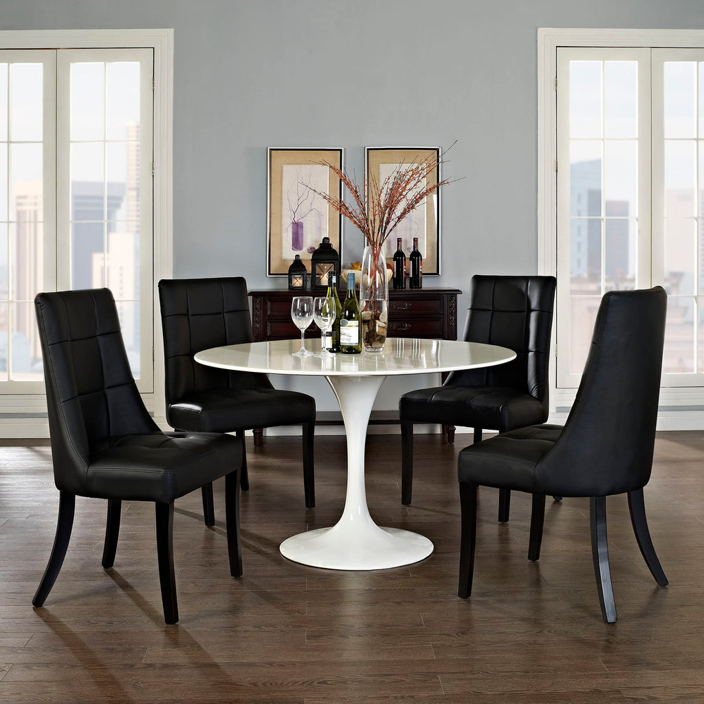 Noblesse Dining Chair Vinyl Set of 4 in Black