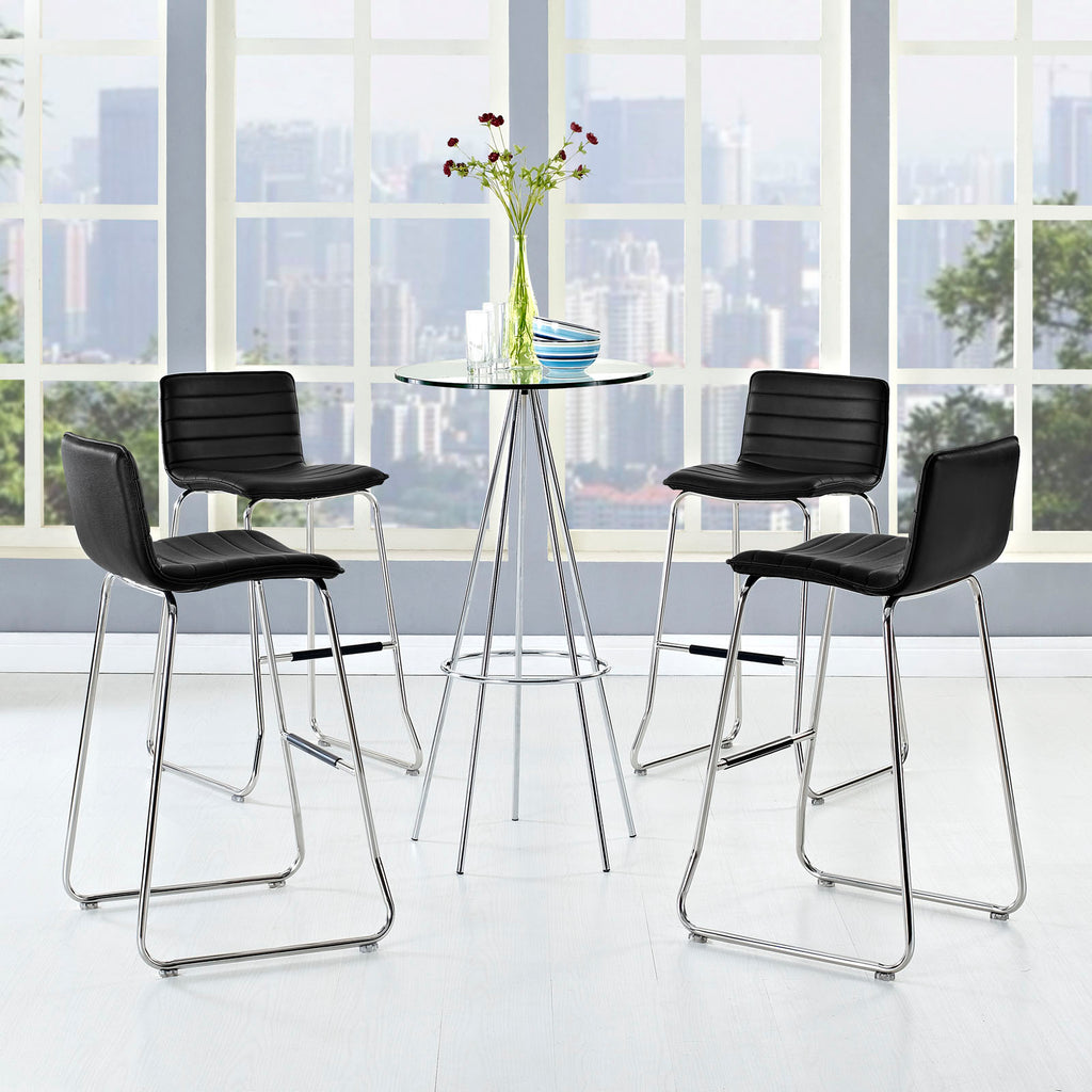 Dive Bar Stool Set of 4 in Black