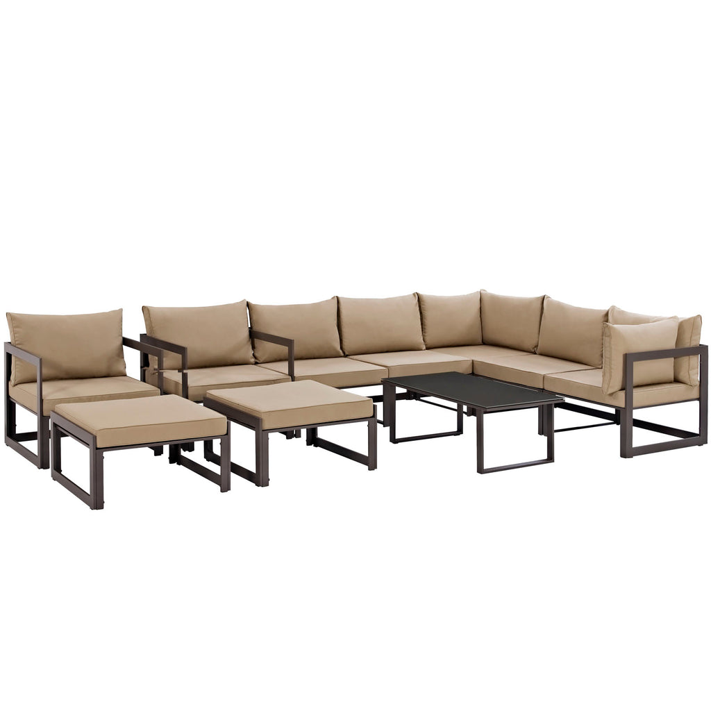 Fortuna 10 Piece Outdoor Patio Sectional Sofa Set in Brown Mocha