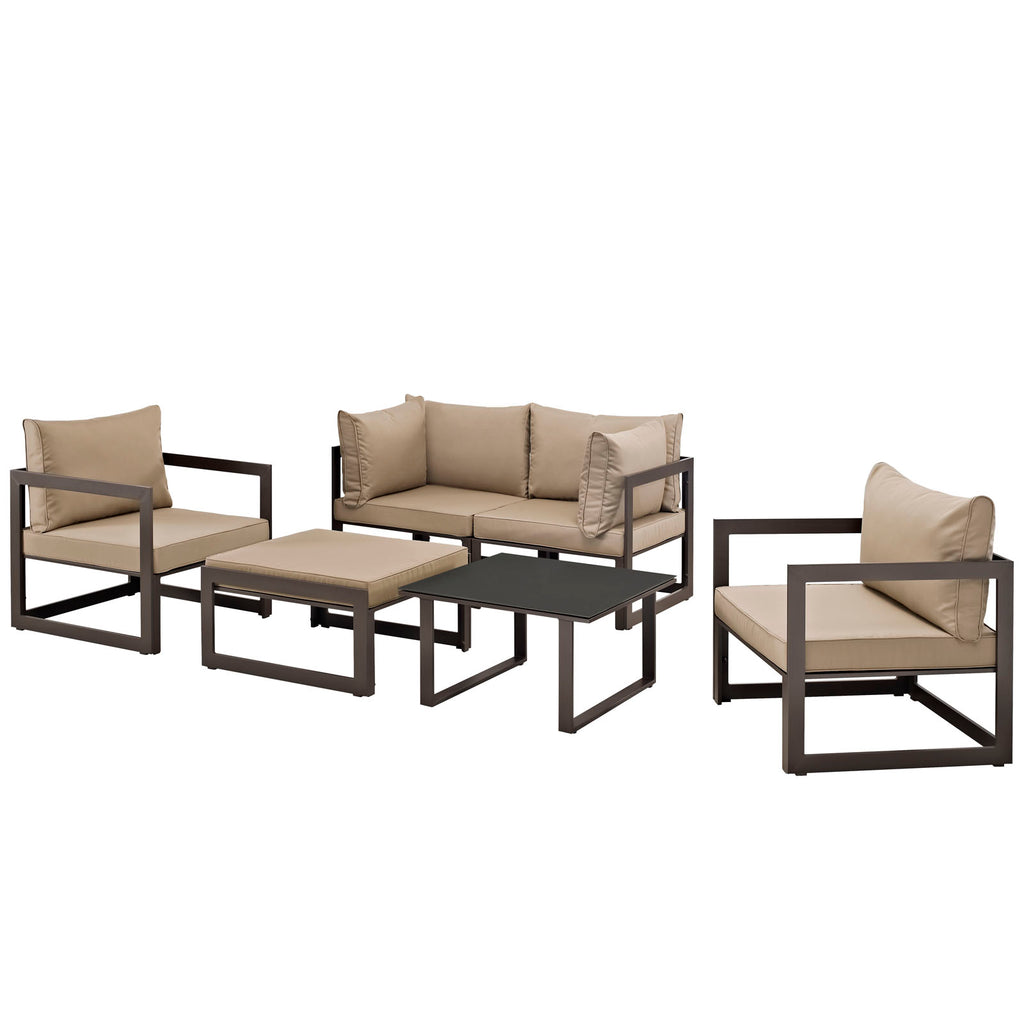 Fortuna 6 Piece Outdoor Patio Sectional Sofa Set in Brown Mocha