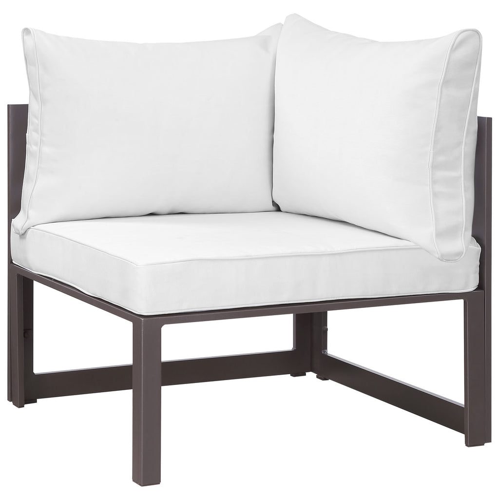 Fortuna 6 Piece Outdoor Patio Sectional Sofa Set in Brown White