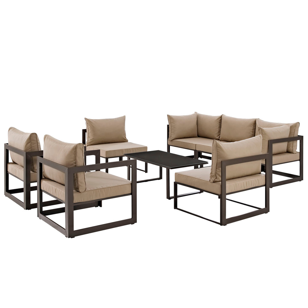 Fortuna 8 Piece Outdoor Patio Sectional Sofa Set in Brown