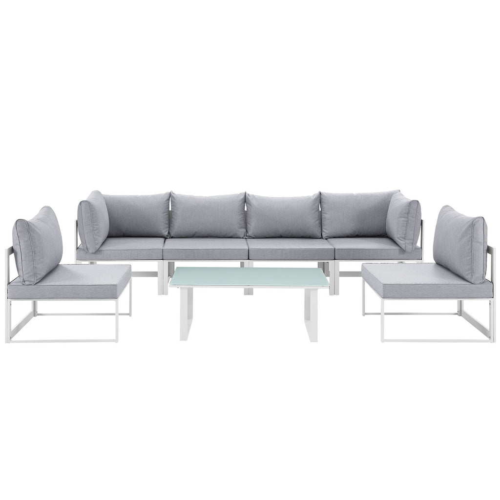 Fortuna 7 Piece Outdoor Patio Sectional Sofa Set in White Gray