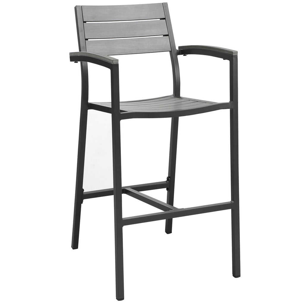 Maine Bar Stool Outdoor Patio Set of 2 in Brown Gray