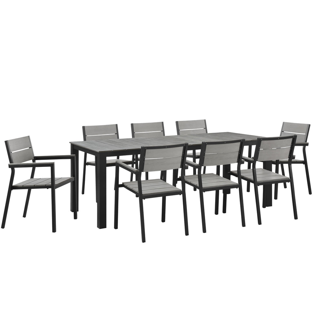 Maine 9 Piece Outdoor Patio Dining Set in Brown Gray