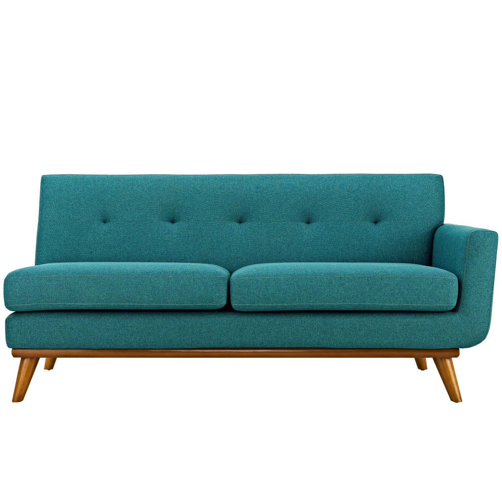 Engage Right-Arm Upholstered Fabric Loveseat in Teal