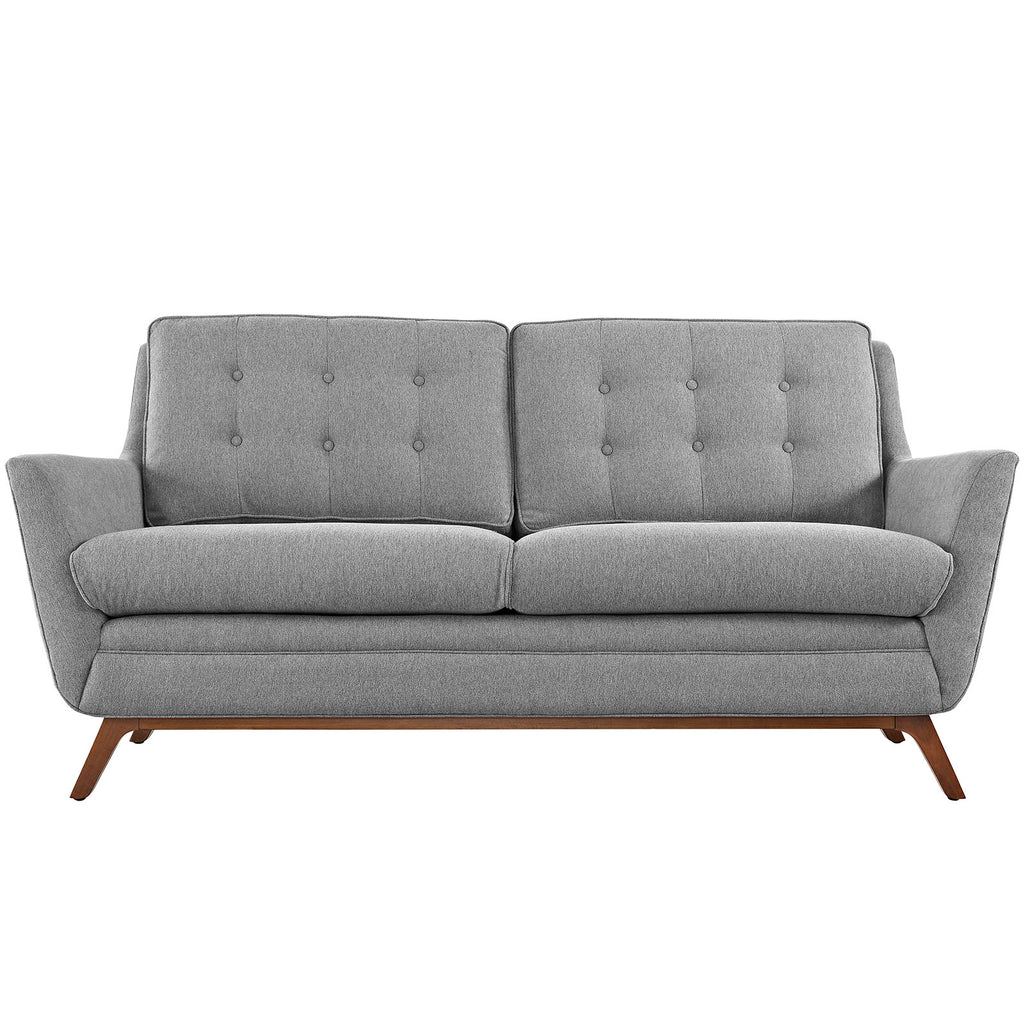 Beguile Upholstered Fabric Loveseat in Expectation Gray