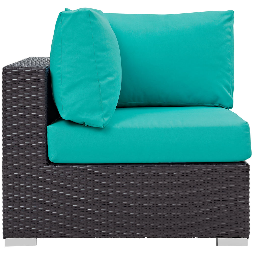 Convene Outdoor Patio Corner in Espresso Turquoise