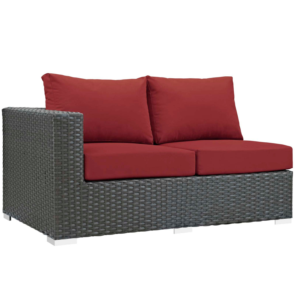 Sojourn Outdoor Patio Sunbrella® Left Arm Loveseat in Canvas Red