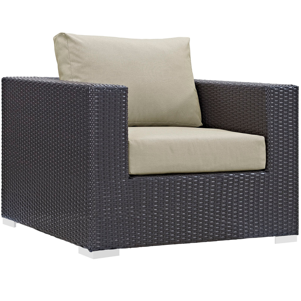 Convene Outdoor Patio Armchair in Espresso Beige