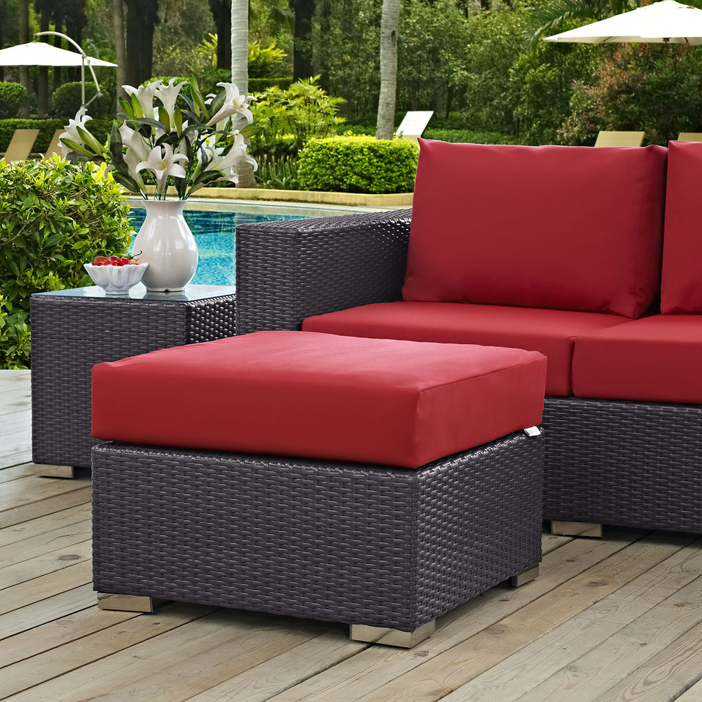 Convene Outdoor Patio Fabric Square Ottoman in Espresso Red