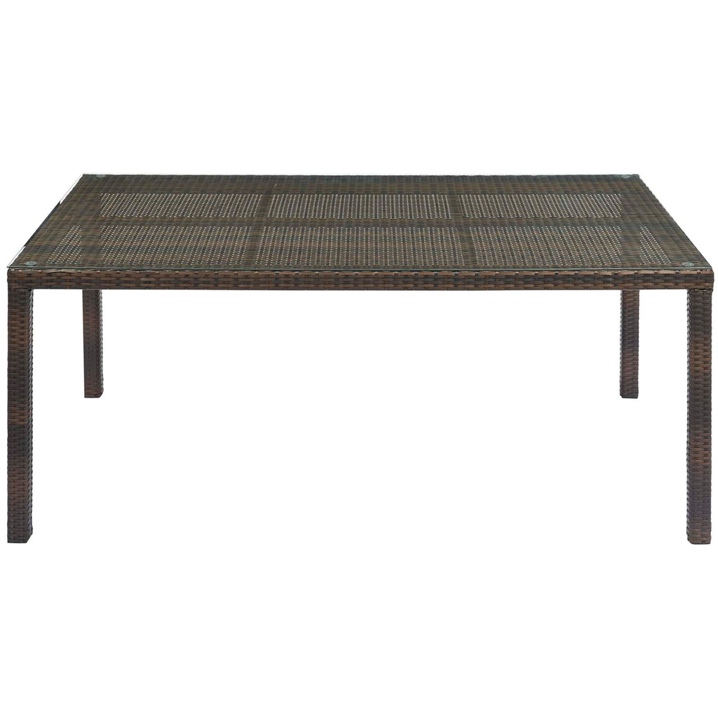 "Conduit 70"" Outdoor Patio Wicker Rattan Dining Table in Brown"