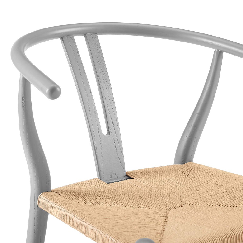 Amish Dining Wood Side Chair in Light Gray