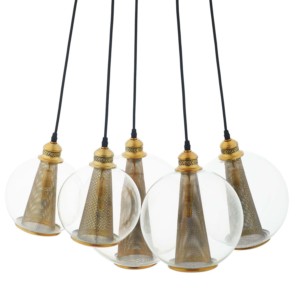 Peak Brass Cone And Glass Globe Cluster Pendant Light Chandelier