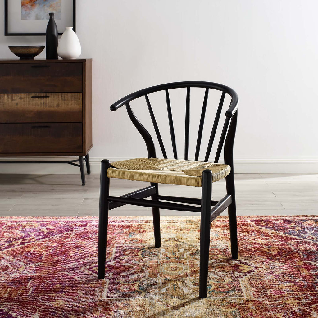 Flourish Spindle Wood Dining Side Chair in Black