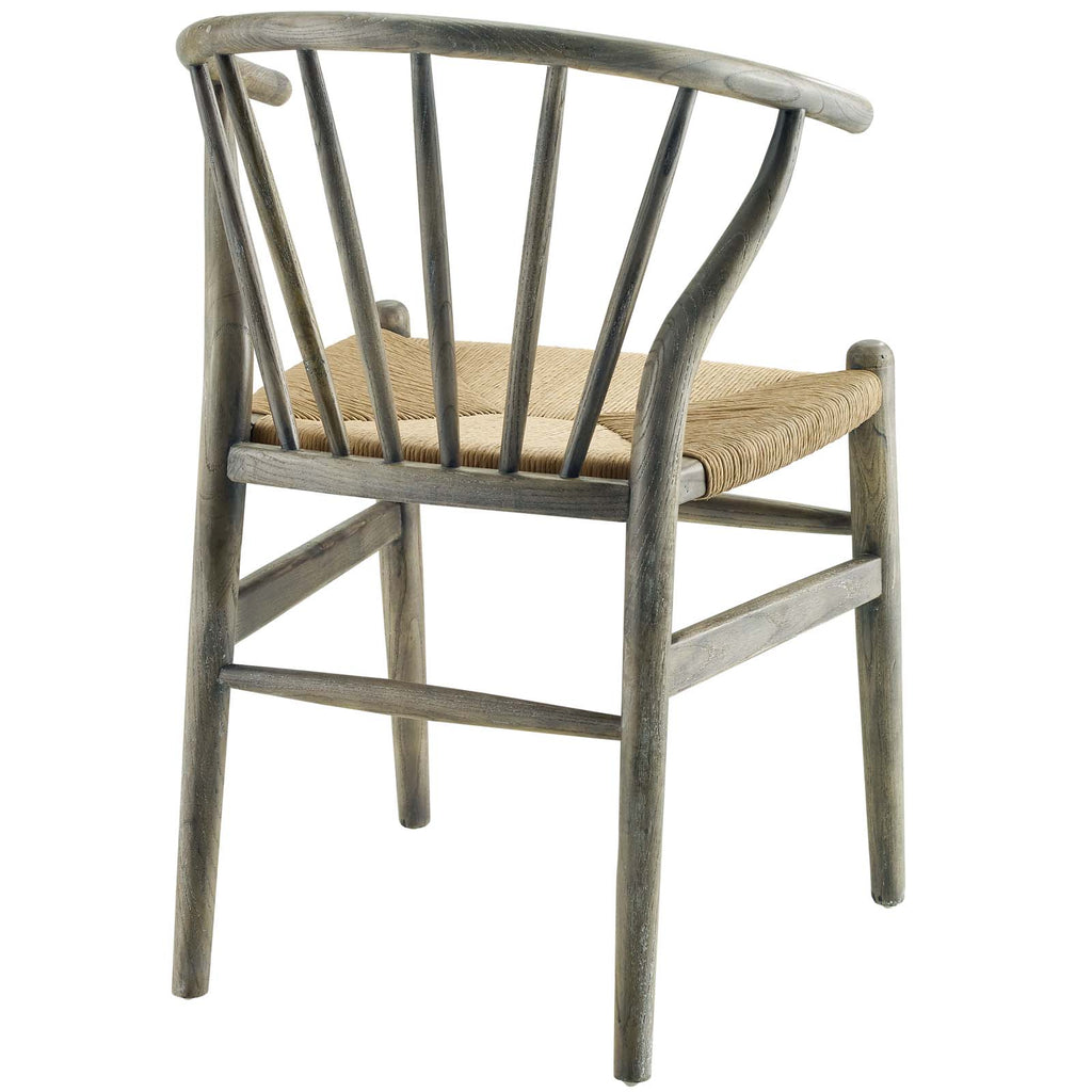 Flourish Spindle Wood Dining Side Chair in Gray