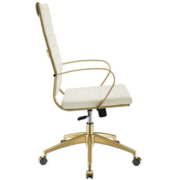 Jive Gold Stainless Steel Highback Office Chair in Gold White
