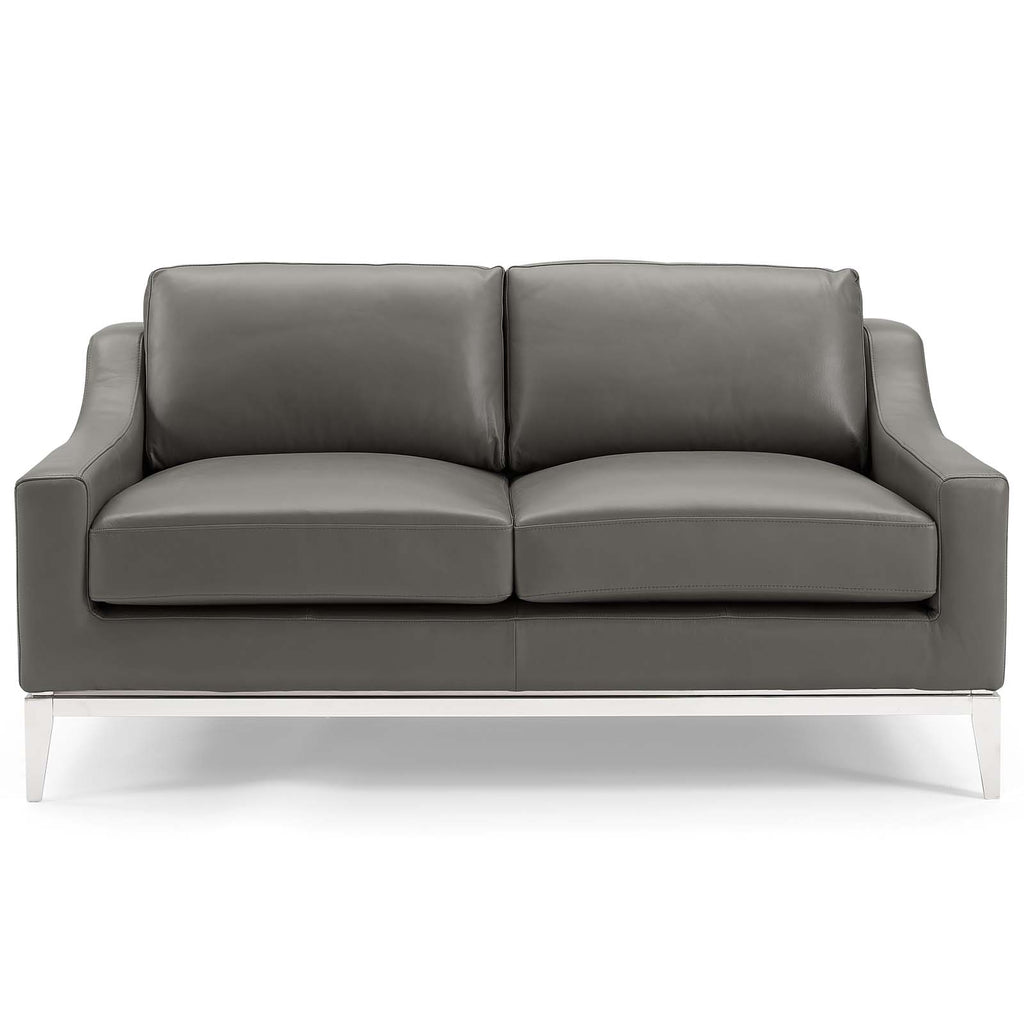 "Harness 64"" Stainless Steel Base Leather Loveseat in Gray"