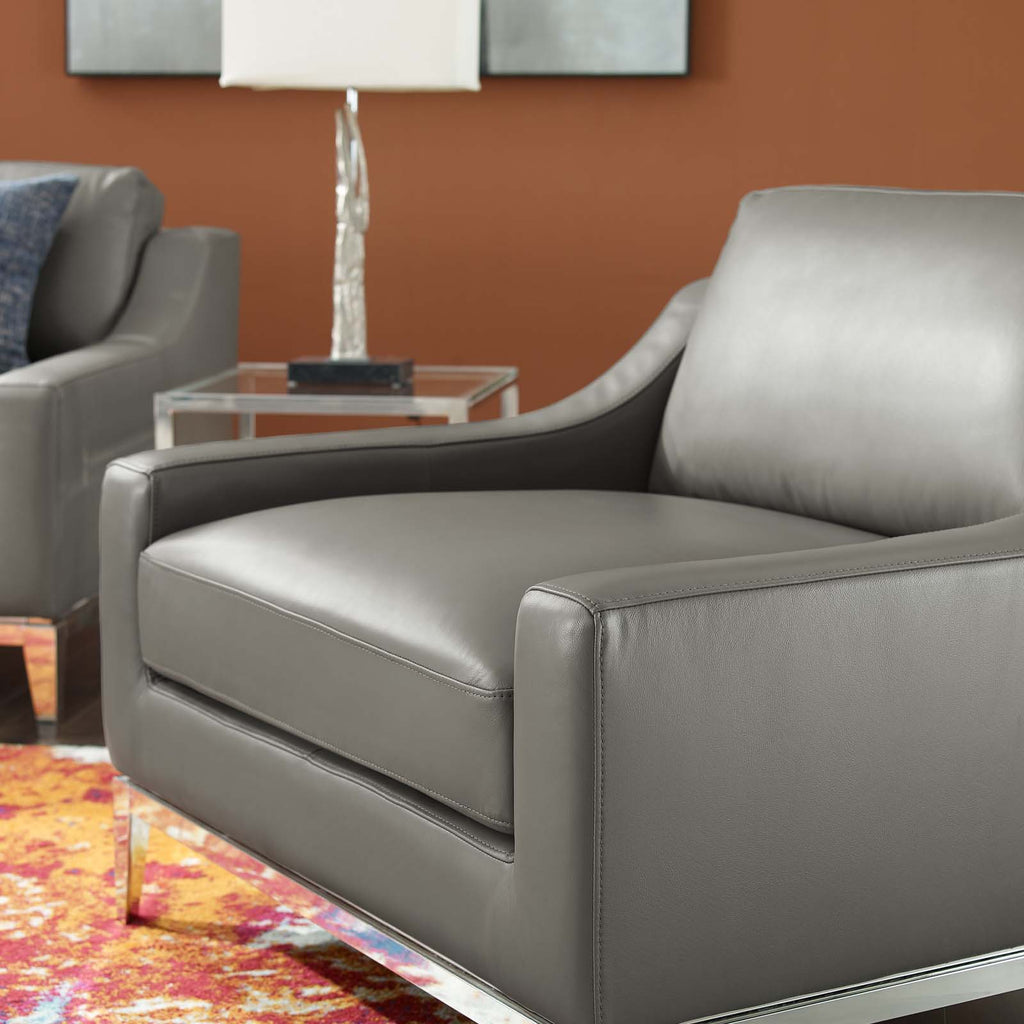Harness Stainless Steel Base Leather Armchair in Gray