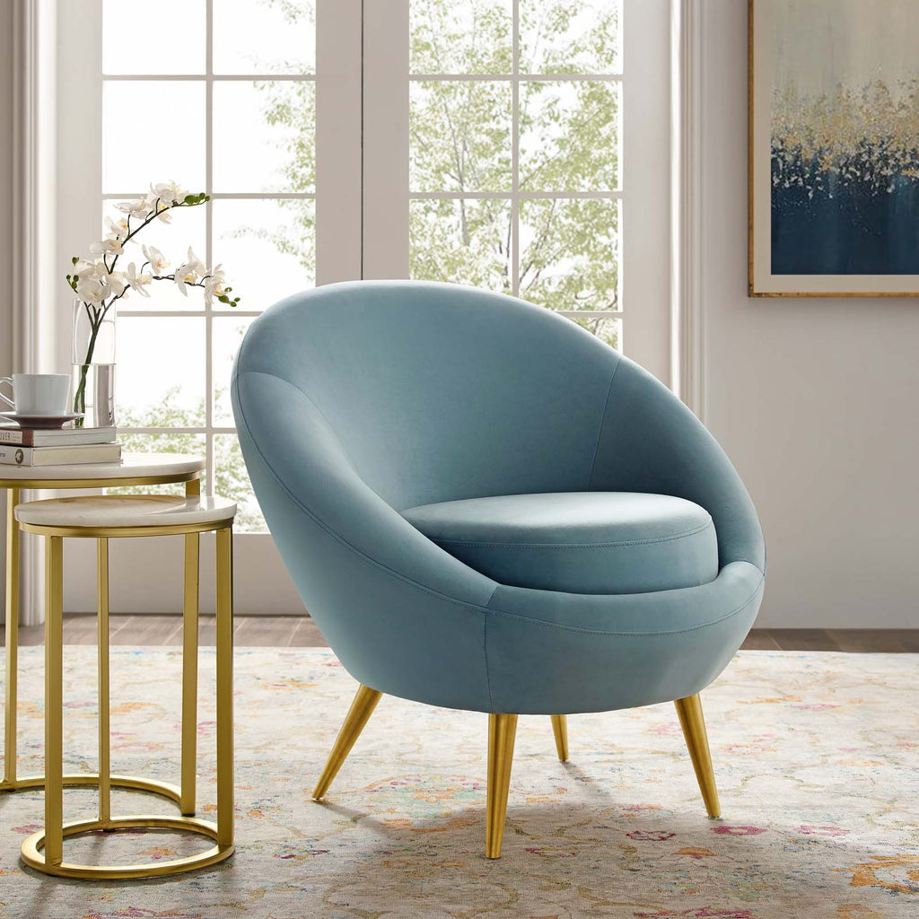 Circuit Performance Velvet Accent Chair in Light Blue