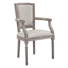 Penchant Dining Armchair Upholstered Fabric Set of 4 in Beige
