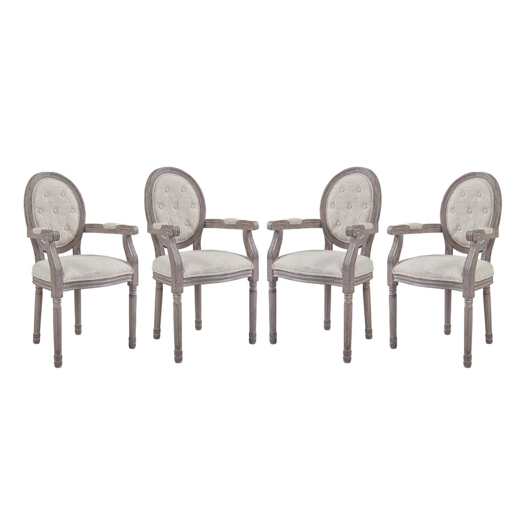 Arise Dining Armchair Upholstered Fabric Set of 4 in Beige