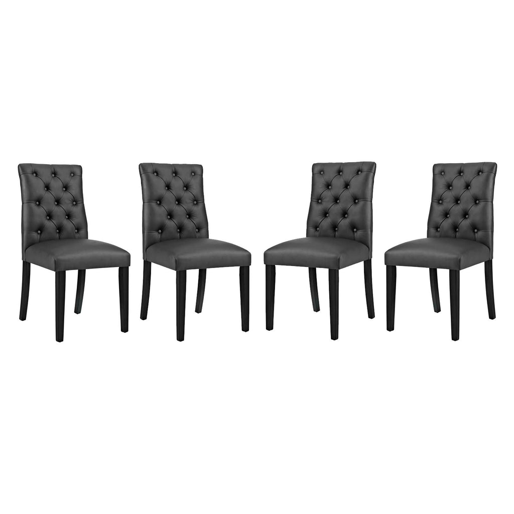 Duchess Dining Chair Vinyl Set of 4 in Black