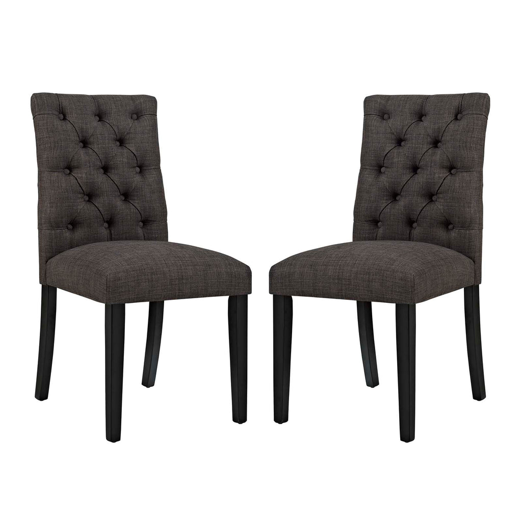 Duchess Dining Chair Fabric Set of 2 in Brown