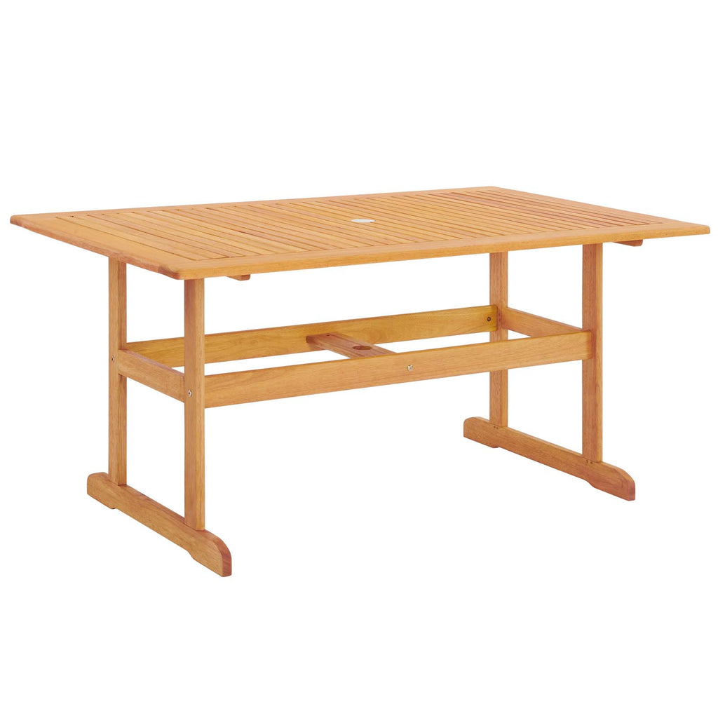 "Hatteras 59"" Rectangle Outdoor Patio Eucalyptus Wood Dining Table"